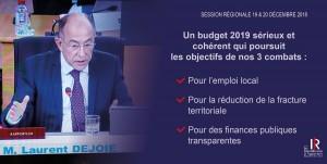 BUDGET PRIMITIF 2019 A LA REGION